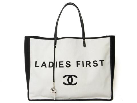 buy online 5debb bcfdb トートバッグ LADIES FIRST(レディーファースト) キャンバス 白 ...