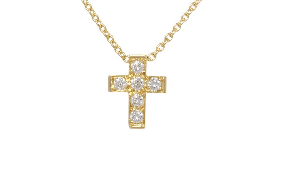 ミニクロアチュール ネックレス クロス K18YG 6Pダイヤ