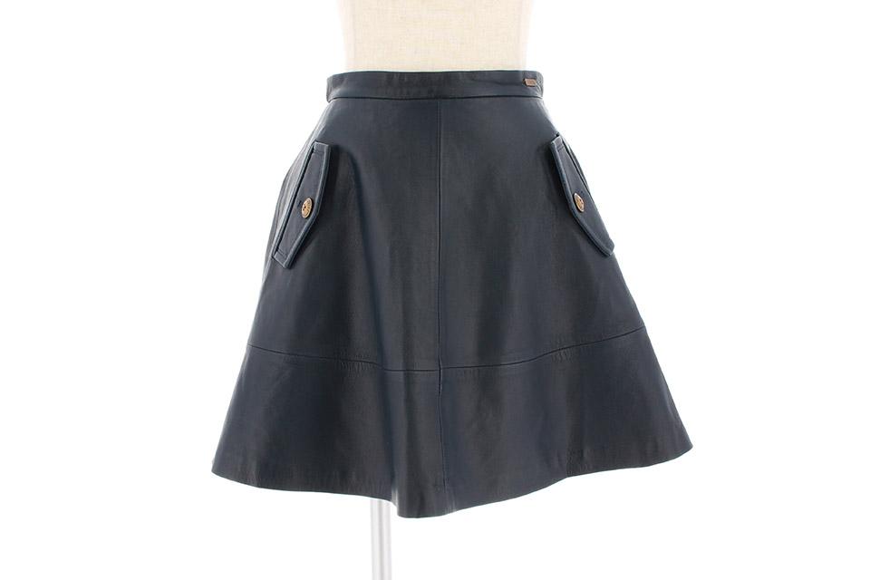 スカート レザー ネイビー