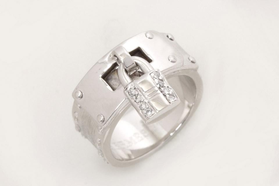 ケリーリング カデナモチーフ K18WG ダイヤ #49