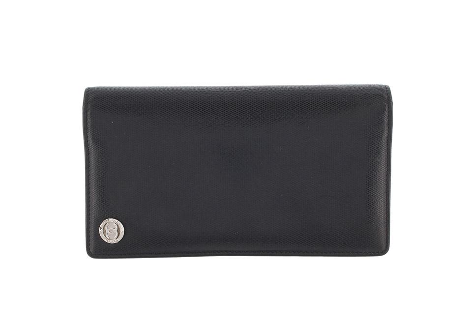 2つ折り長財布 レザー 黒