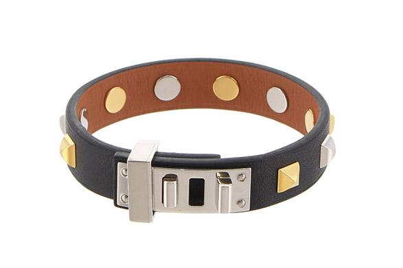 メドール ミニドッグ ブレスレット T2 レザー 黒/ブラック シルバー/ゴールド金具
