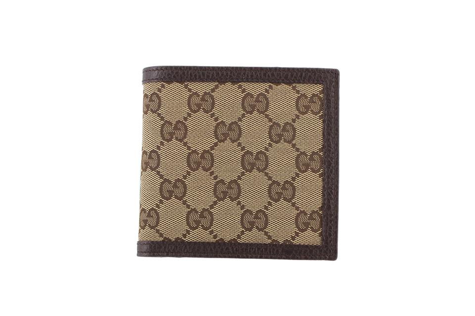 2つ折り財布 グッチシマ キャンバス ベージュ/ブラウン 150413 アウトレット 未使用