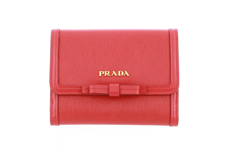 2つ折り財布 コンパクト財布 リボン 赤 LACCA 1MH523 未使用