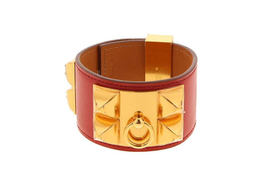 コリエドシアン バングル ボックスカーフ サンギンヌ ゴールド金具 Sサイズ 未使用