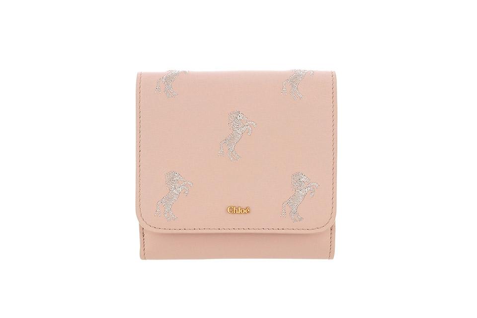 2つ折り財布 コンパクト リトルホース レザー ピンク 新品同様