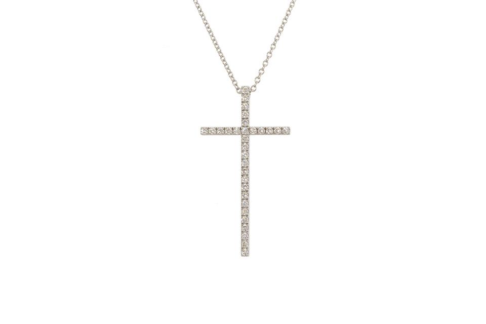 メトロ クロスネックレス K18WG/ダイヤ