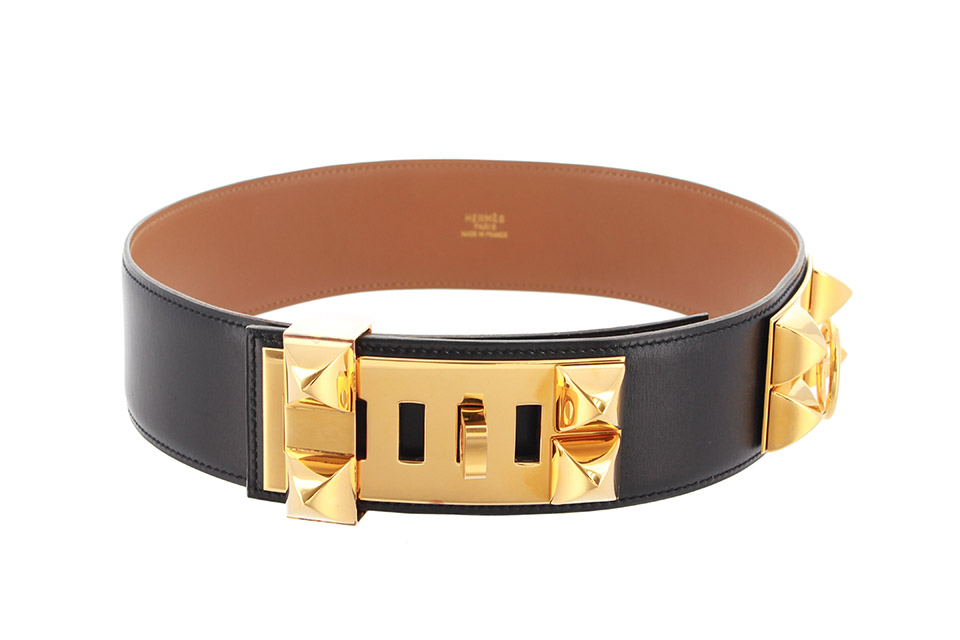 コリエドシアン メドール ベルト ボックスカーフ ブラック ゴールド金具