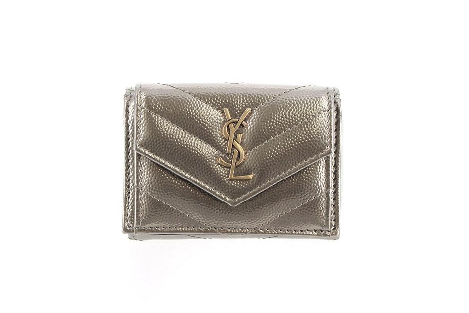 三つ折り財布 ミニ コンパクトウォレット ゴールド 505118 新品同様