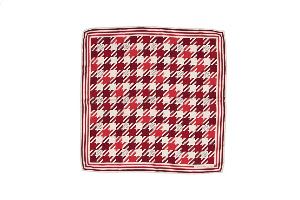 スカーフ シルク 赤/白