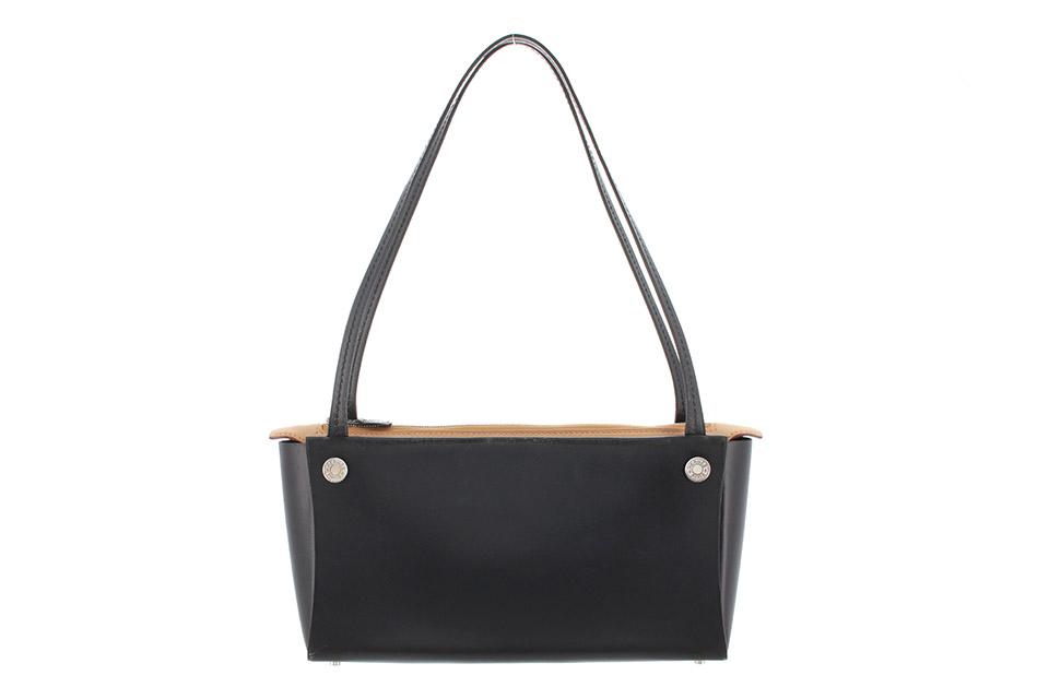 インボックス ハンドバッグ ボックスカーフ 黒 ブラック/ナチュラル シルバー金具 セリエ金具 ソルド品