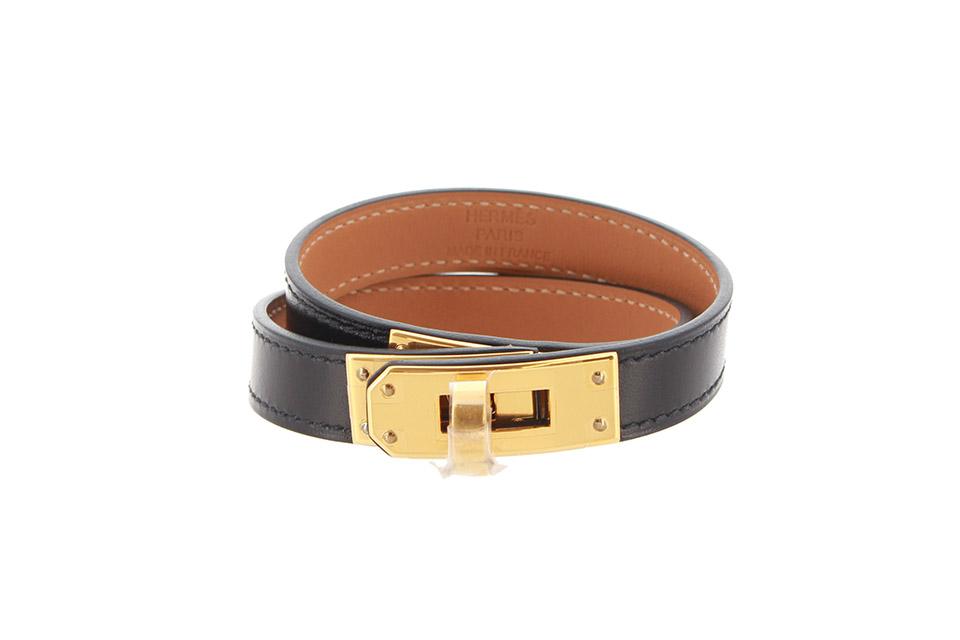 ケリーブレス ドゥブルトゥール ボックスカーフ 黒 ブラック ゴールド金具 未使用