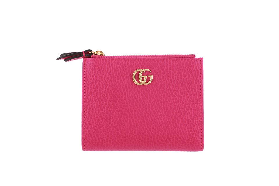 二つ折り財布 GGマーモント ピンク ゴールド金具 474747 未使用
