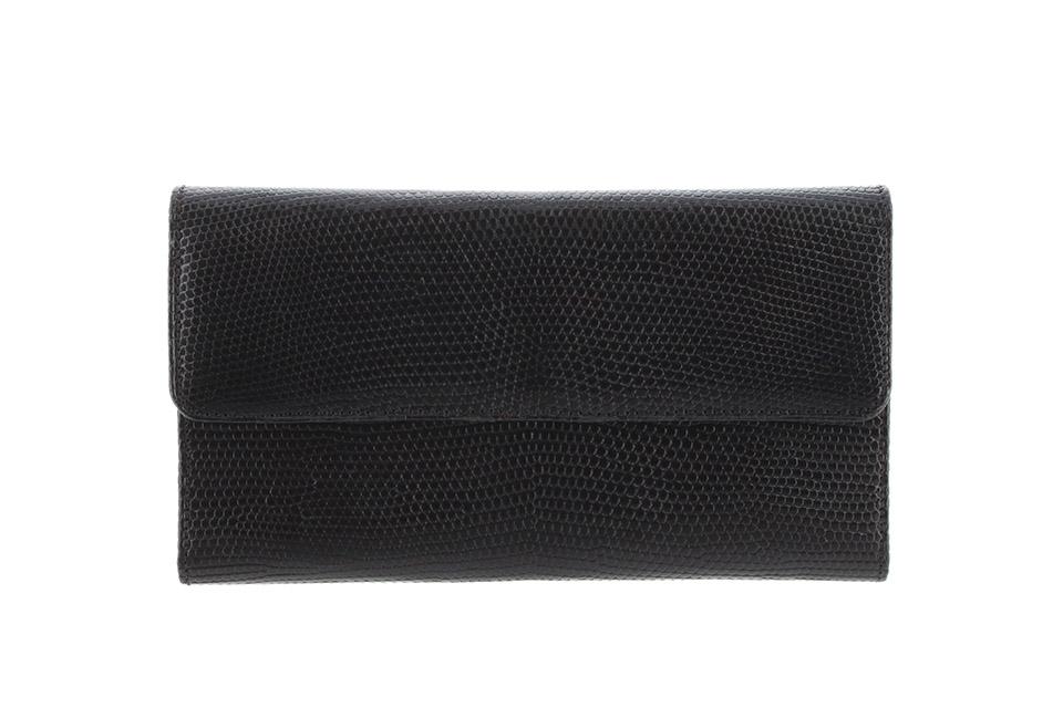 3つ折長財布 リザード 黒  ブルー エキゾチック リザード ポルトトレゾール