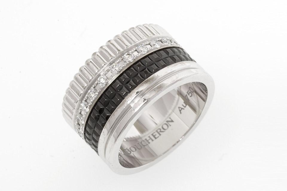 キャトルリング ラージ K18WG/ダイヤ/ブラックPVD  #50 JRG01782