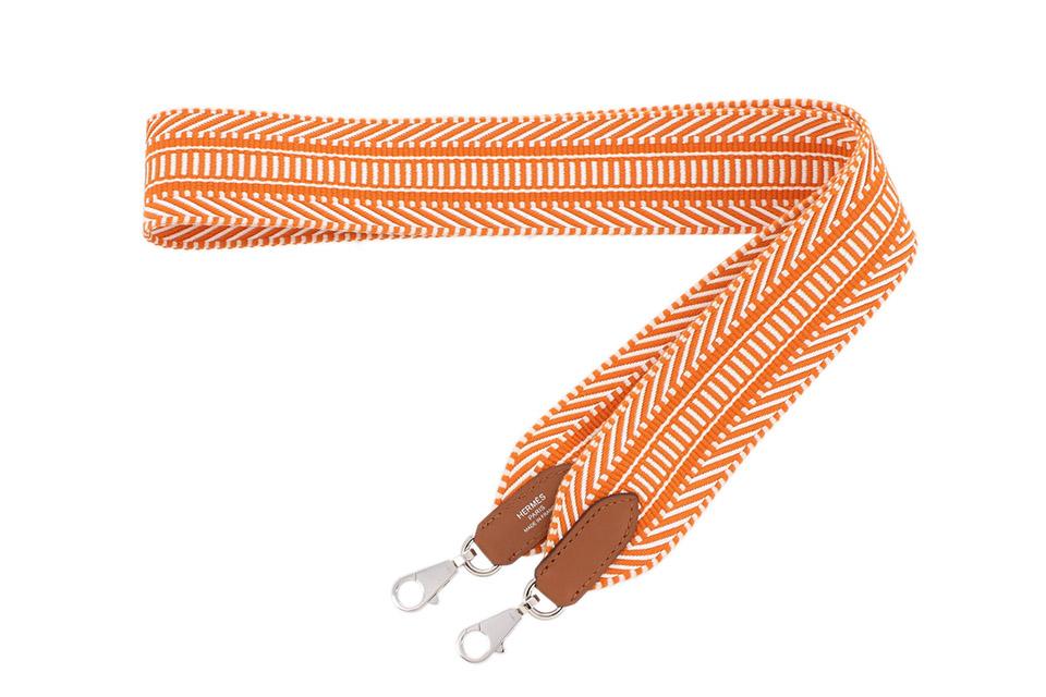 サングルカヴァル ショルダーストラップ 5cm/113cm オレンジ/ホワイト シルバー金具 新品同様
