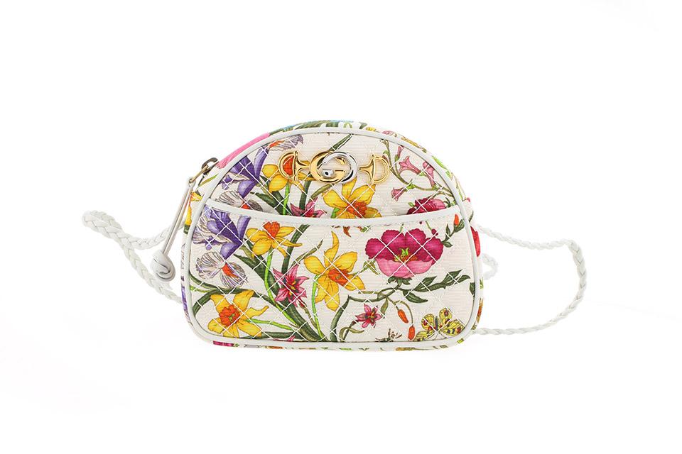 ミニショルダーバッグ フローラ フラワー 花 ホワイト/マルチ 534951 未使用