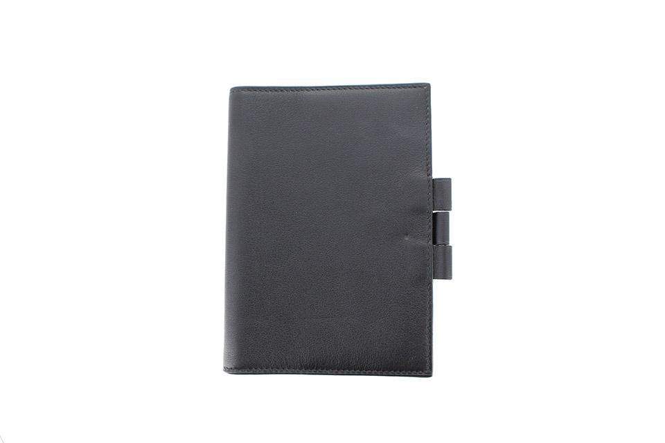 手帳カバー ボックスカーフ 黒 ブラック