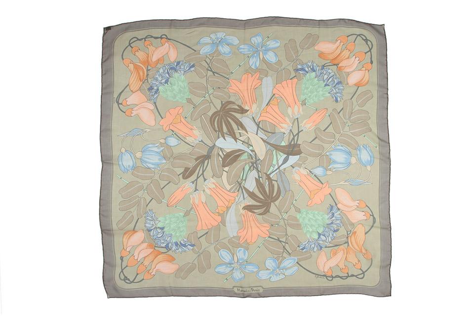 スカーフ シルク カーキ/グレー