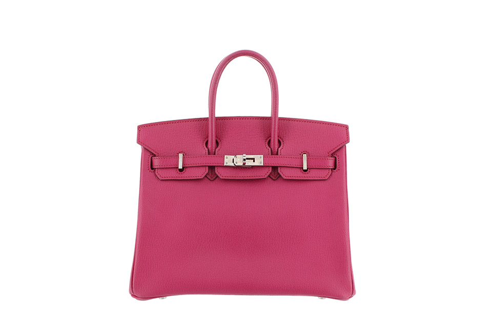 Birkin25 Chevre Rose Shocking silver hardware Stamp:O(□)