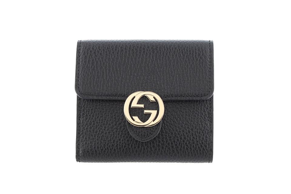 Wホック財布 未使用 ブラック レザー アウトレット 598167