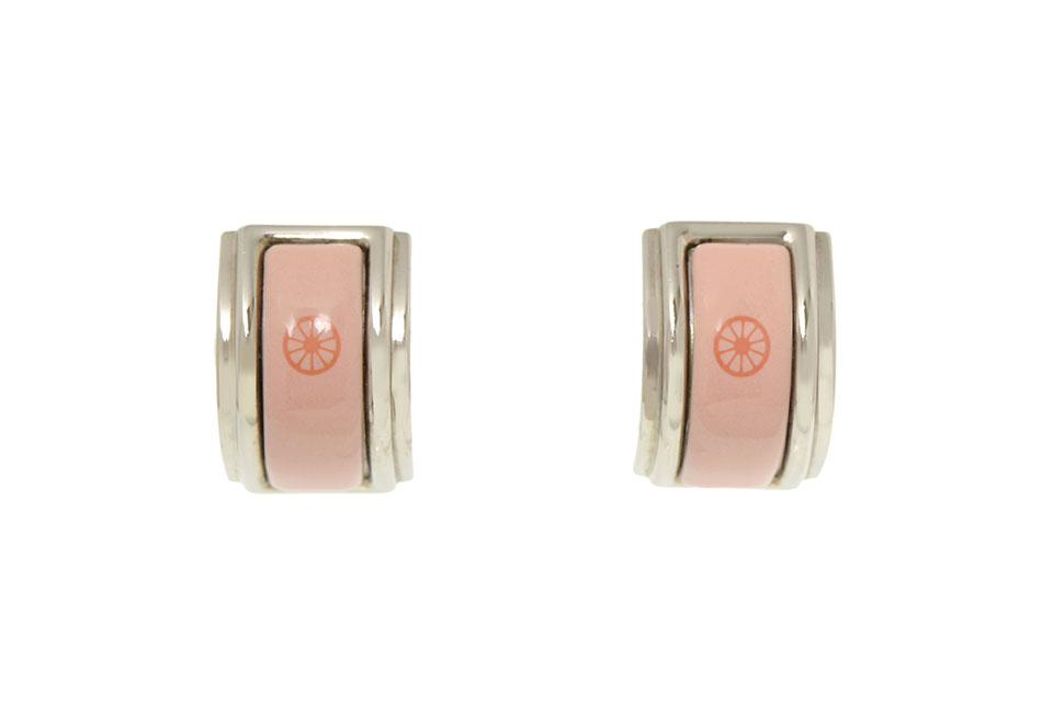 七宝イヤリング ピンク シルバー金具
