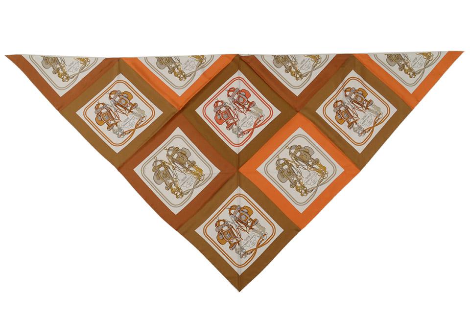 三角スカーフ ミニ・ブリッド・ドゥ・ガラ トライアングルジェアン ブラウン/オレンジ/ホワイト H572037S 新品