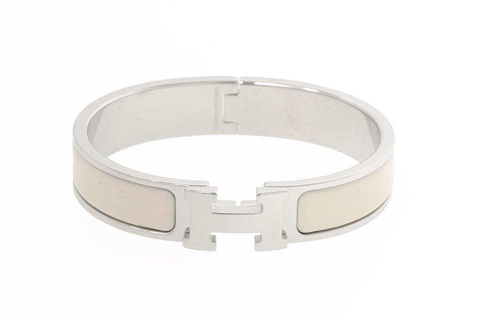 クリッククラックPM バングル ブレスレット ホワイト 白 シルバー金具 未使用