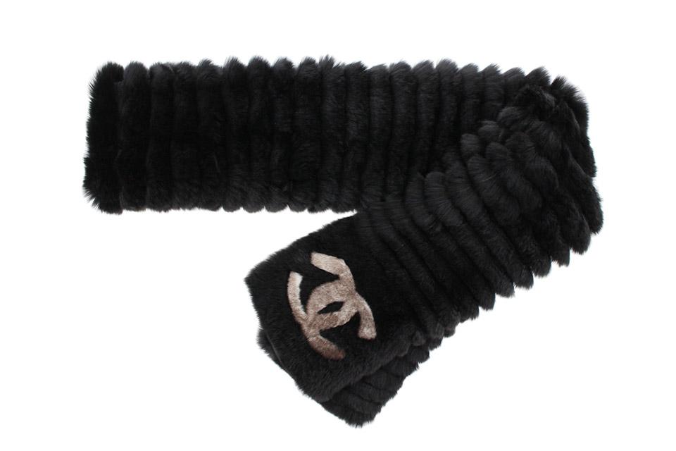 オリラグ(ラビット) ファーマフラー 襟巻き ココ 黒 新品同様