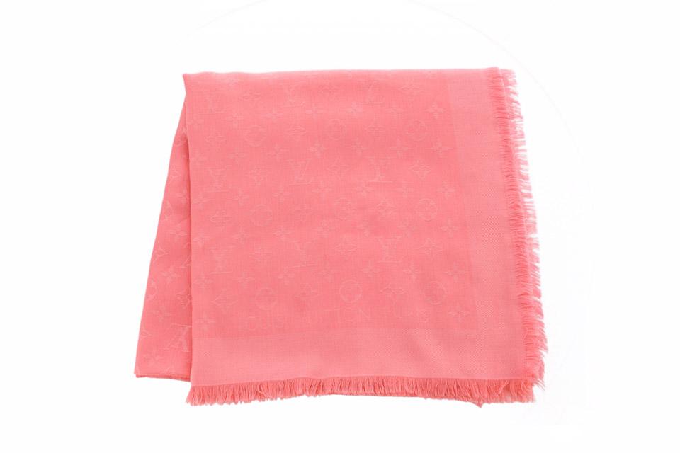 大判ストール ショール モノグラム柄 ピンク