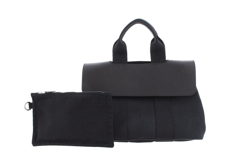 ヴァルパライソPM ハンドバッグ トワルシェブロン(キャンバス)/レザー 黒 ブラック シルバー金具 ポーチ付き